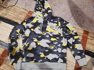 Men's Champion Super fleece Hoodie black Yellow Camo Size Large