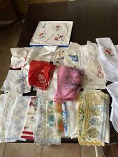 Lot of 30+Vtg Handkerchiefs Crochet Embroidered Lace Printed Scalloped