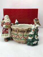 Fitz & Floyd Classics Christmas Lodge Santa Owl Tidbit Candy Bowl Dish 19/1367