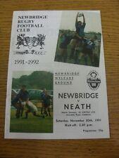 Programma di rugby 30/11/1991: Newbridge V Neath. Tutina progs/bobfrankandelvi