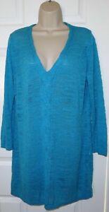 Womens🦋PER UNA🦋blue stretch cable knit longline jumper size 18