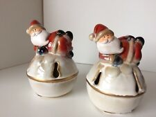 Beautiful Ex. Cond. Pair of Glazed Ceramic Laying Down Father Xmas Ornaments