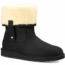 WOMENS UGGS BOOT Malindi Cuffable Black Leather Shearling Mid Calf Booties 5 M