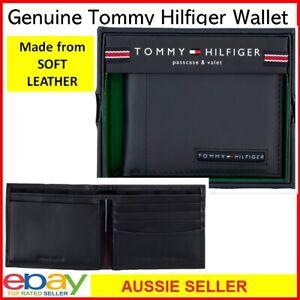Tommy Hilfiger Men's BiFold LEATHER WALLET Passcase Billfold Card Slot Note Carr