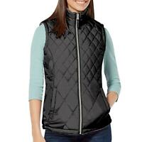 Womens Free Country Reversible Quilted Lightweight Vest Pockets Small, Black