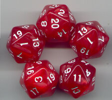 RPG Dice Set of 5 D20 - Pearl Red w/white ink