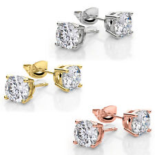 925 Sterling Silver 14kt Gold or Rose Gold Round BASKET SET CZ Stud Earrings
