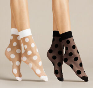FIORE Virginia Luxury 20 Denier Super Fine Decorative Polka Dot Patterned Socks