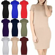 Womens Cap Short Sleeve Bodycon Ladies Turtle Polo Neck Long T Shirt Mini Dress