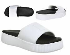 Puma Platform Slide Slip On Womens White Black Flip Flops Slider 366121 01 B100B