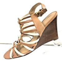 IVANKA TRUMP Women's Brown Leather Wedge Heels Shoe Size 7.5M