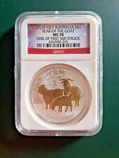 2015 Australia Goat GILT GILDED 1 oz 999 Silver coin NGC MS 70 - 1 of 1st 500