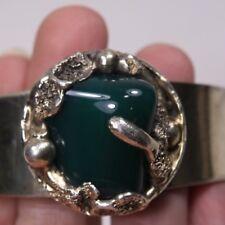 Vintage Silver Bracelet D.S. Denmark Handmade Green Stone Cuff Dansk Smykkekunst