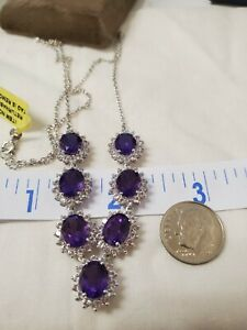 Amethyst white topaz princess necklace platinum/925 sterling silver15.25 cts 20""