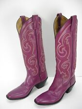 VINTAGE MERCEDES PURPLE LEATHER TALL COWBOY WESTERN BOOTS WOMEN'S 6.5 A