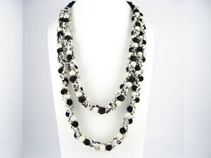 """27"""" or 71cm Long Shell Pearl Black Wool Ball Linked Double Row Necklaces Present"""
