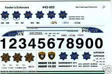Fowlers 1/43 Police Decals 43002 San Francisco Police - SFPD - BART