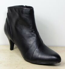 M&S FOOTGLOVE Real LEATHER Mid Heel ANKLE BOOTS ~ Size 5.5 ~ BLACK
