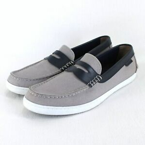 Cole Haan Nantucket Penny Loafer Mens Sz 11 M Gray Canvas Navy Leather Trim