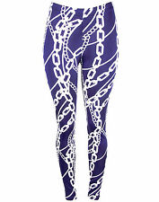 Royal Blue Rope Chain Design Pattern Stretch Leggings 7160