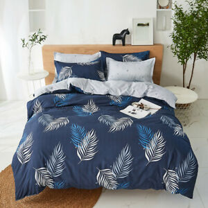 Blue Leaves Quilt Cover Cotton Bedding Set with Pillowcase Single Queen King