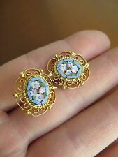 Old Vintage Floral Micro Mosaic Gold plated Filigree Stud Earrings Italy