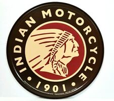 INDIAN MOTORCYCLE - ROUND LOGO  - COLLECTIBLE TIN SIGN - WALL DECOR- MADE IN USA