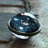 Solar Galaxy System Planet Halskette Anhänger Doppelseitige Glaskuppel Schmuck