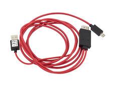 MHL auf HDMI Adapter für 5-Pin Micro-USB 2.0 Handy Tablet Rot HD TV Kabel 1,8m