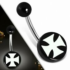 Piercing Navel Stainless Steel with Circle round in Acrylique Black 3 Tones