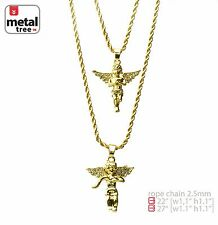 "Men's 14K Gold Plated Double Angel 22"" & 27"" Combo Pendant Necklace MHC 203 G"