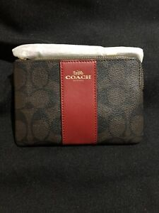 "Coach New York ""Signature"" Leather Wallet (brown and Red)"