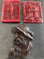 Vintage German Wax Relief Wall Hangings 3D Art Hand Carved Plaques