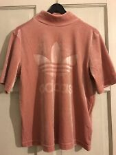 Adidas Pink Velour Short Sleeve Top Size 10