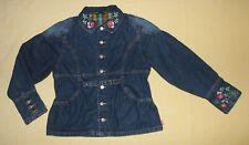 Fun, Oilily Denim Bingo Jacket, size 152 Coat w/Embroidery, Future is Shiny Col.