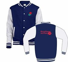 England Rugby Fan Blood Sweat And Tears Back Red Print Varsity Jacket Kids