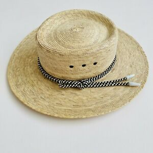 Unisex Light Tan Straw Panama Hat 53cm Circumference Small Size