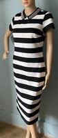 M & S Womens Stretch StrIped Midi Pencil Dress Uk Size 10 Black And White BNWT