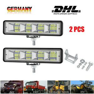 2 X 24 LED Auto Arbeit Scheinwerfer Nebel Rückfahrlicht Weiß & Bernstein DHL DE