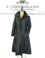 Women's Navy Blue VINTAGE 70s TRENCH MAC Shiny Alexa Chic Madmen MOD Coat UK 12