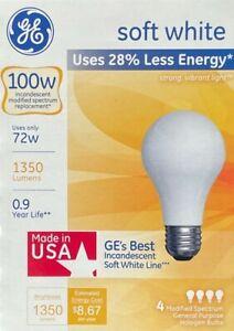 4 GE 100-Watt Soft White A19 Medium Base Light Bulbs - 1350 Lumens - Made in USA