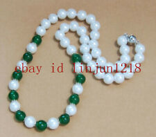 8mm White South Sea Shell Pearl & Green Emerald Round Gemstone Necklace 18'' AAA