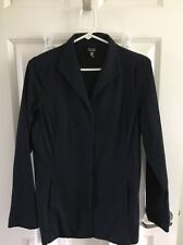 Eileen Fisher NAVY  Blue  Cotton SPANDEX  Long Sleeve Snap Front Jacket XSMALL