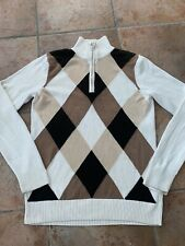 Ladies Izod Golf Classic Argyle Half Zip Jumper Size 12