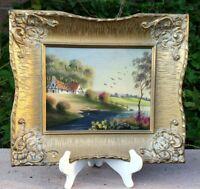 Impressionism Original Art By Morezzo w/ Antique Frame Signed Genuine Oil Paint