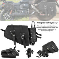 New Universal Motorbike Waterproof Motorcycle Leather Luggage Saddle Bag Pannier
