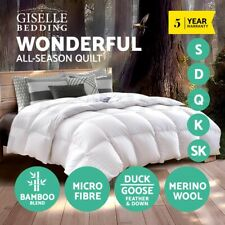 Giselle Wool/Bamboo/Microfibre/Duck/Goose Feather Down Quilt Doona Duvet Cover