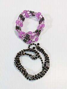 Set Of 2 Gray Magnetic Hematite Purple Acrylic Beard Wrap Bracelets 11116