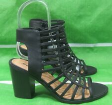 new  Black 3.5 Block Heel Open Toe straps Sexy Shoes Size 8.5