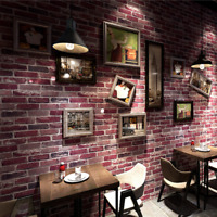 3D Rustic Brick Wall Wallpaper Vintage Wall Paper Roll Living room Bedroom 10M